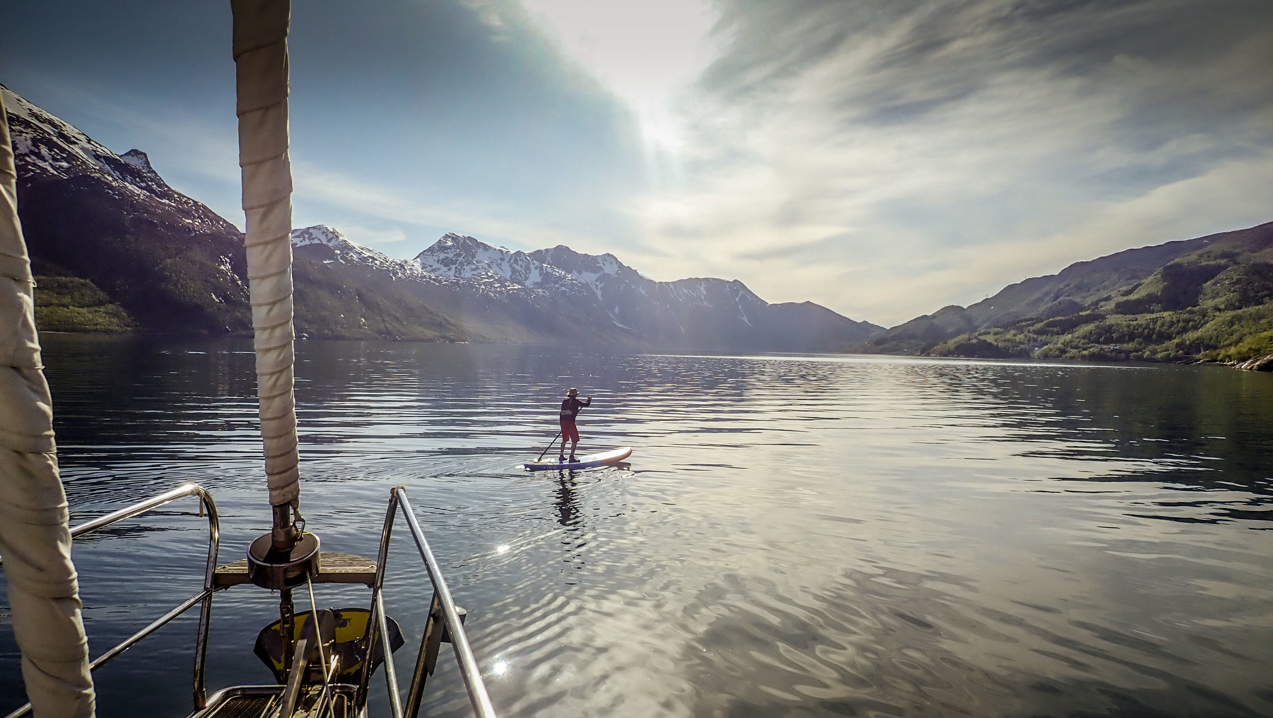 Paddle boarding in Hollandsfjord, Norway