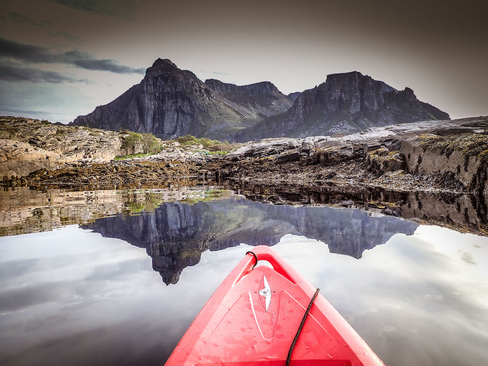 Early morning reflections, kayaking in the beautiful Norwegian fjords