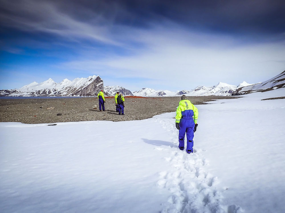 First footsteps in the snow on Svalbard