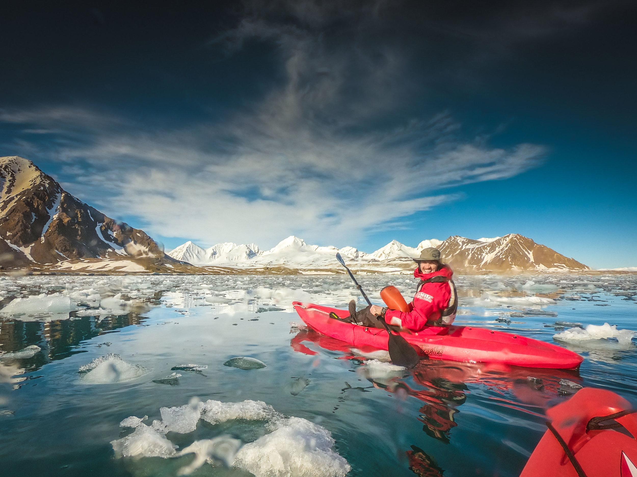 Kayaking amongst the icebergs in Svalbard