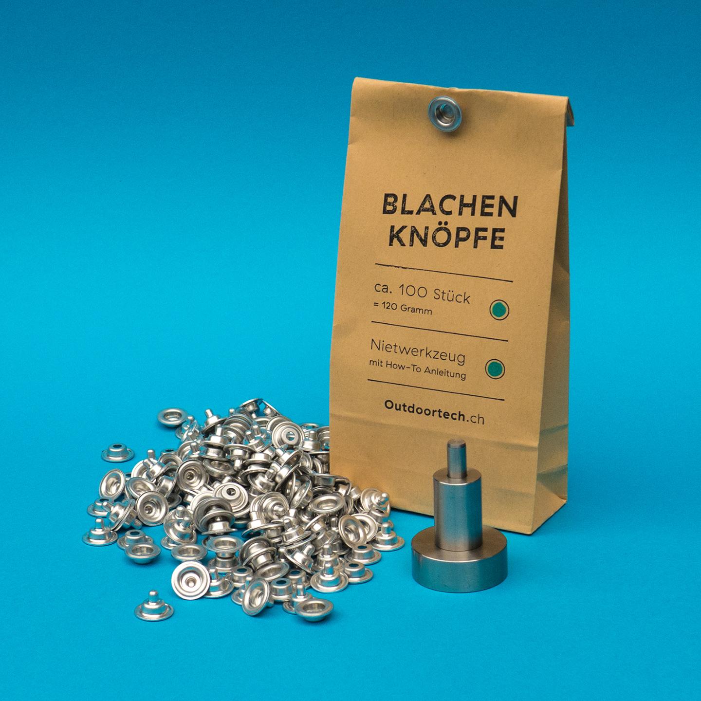 Blachenknopf-Set - Mit den Blachenknopf-Sets von Outdoortech kannst du deine alten und defekten Blachen wieder aufbessern!Unsere Ersatzknöpfe für die Militärblache sind aus einer speziellen Aluminiumlegierung auf der Originalstanzmaschine hergestellt. In Kombination mit dem Nietwerkzeug aus rostfreiem Stahl gelingen dir bombenfeste Vernietungen. Eine detaillierte Anleitung liegt jeweils bei.Mit oder ohne Nietwerkzeug erhältlich.ab CHF 69.–