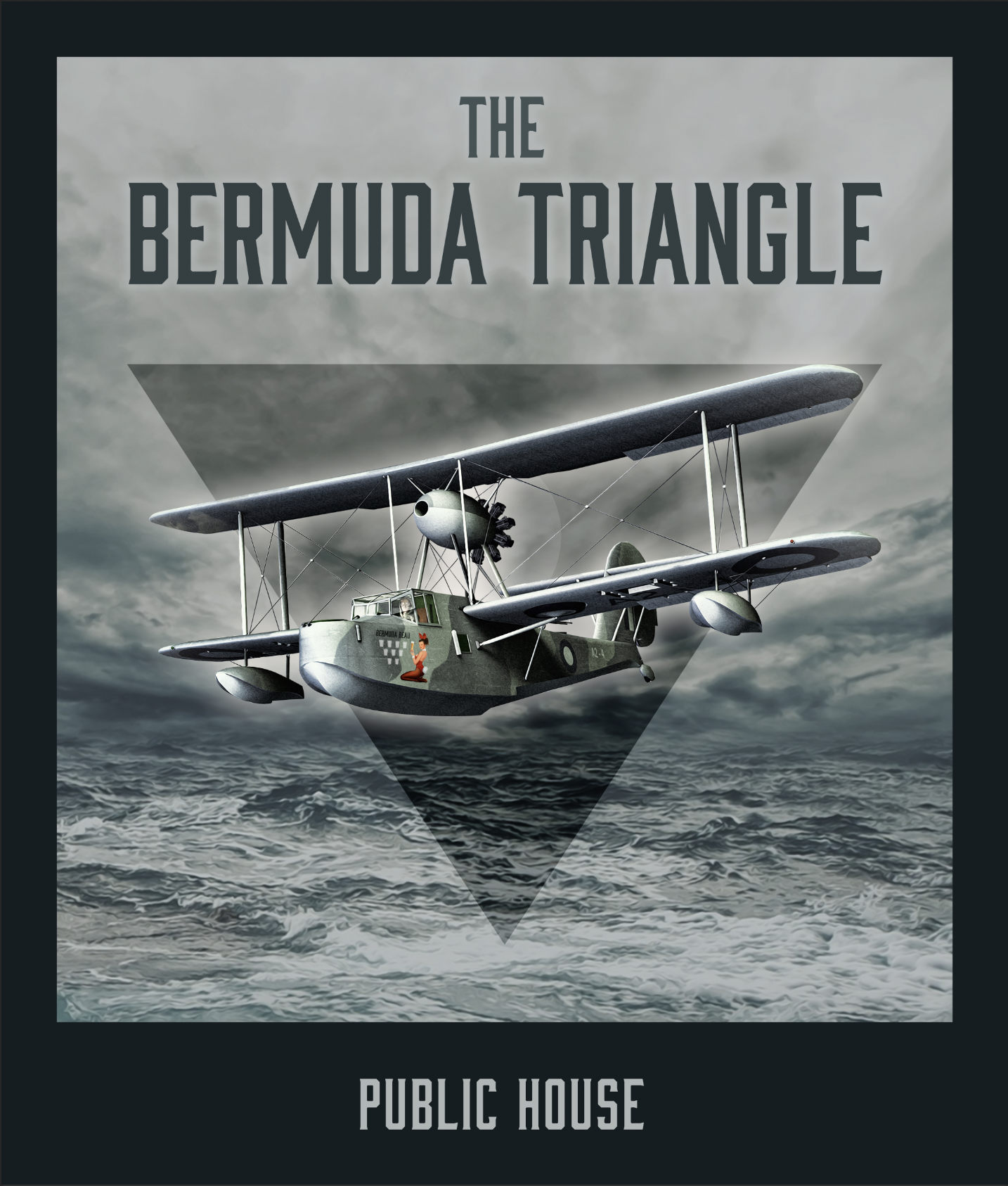 Here's the new pub sign for the Bermuda Triangle, with Captain AG in the cock pit and Bermuda Beau delivering the fine ales