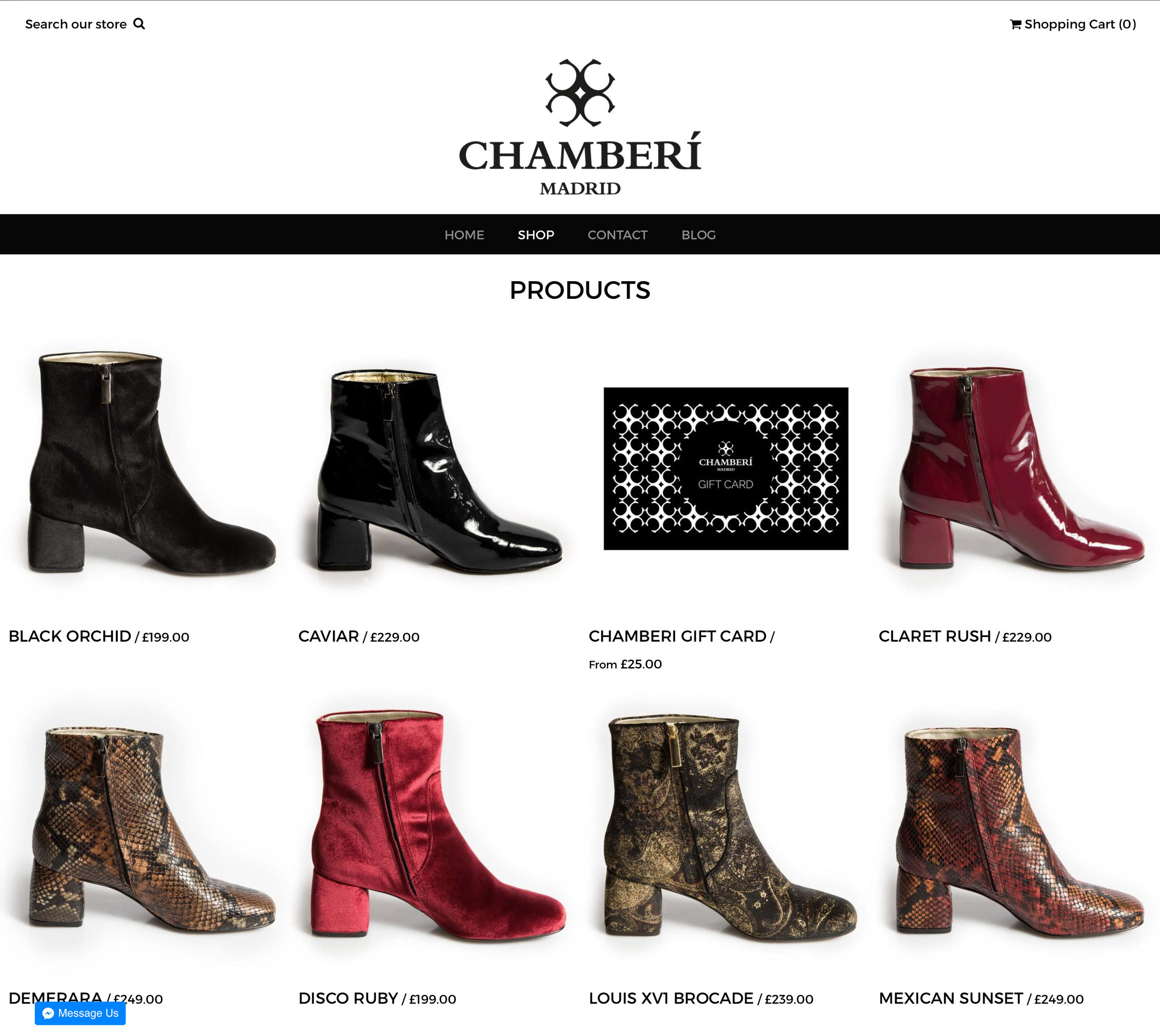 Webawaba Shopify ecommerce store for Chamberi Shoes