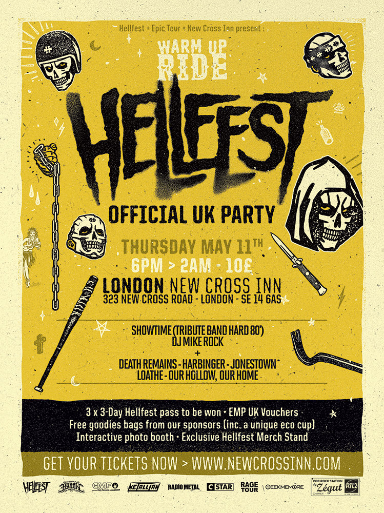 The UK will be treated to a special  HELLFEST  warm-up show taking place at the  New Cross Inn  on 11 May 2017.  Featuring exciting up-and-coming bands from the UK, the line-up consists of London metallers  DEATH REMAINS , Southampton melodic metalcore band  OUR HOLLOW, OUR HOME , tech-death mavericks  HARBINGER , Brighton no-nonsense metal troupe  JONESTOWN  and conceptual math wizards  LOATHE .  The night will also feature guest appearances from  SHOWTIME  (the  HELLFEST  house rock band) and  DJ MIKE ROCK  which will continue until 2am.  The  HELLFEST  crew will give all attendees the opportunity to win numerous gifts including:  - 3x 3 Day HELLFEST Passes to be won - EMP UK Vouchers - Free goodie bags from the sponsors - Interactive photo booth - Exclusive HELLFEST Merch Stand  Get your tickets now: http://www.newcrossinn.com/event/warm-up-ride-hellfest-2k17-london-new-cross-inn/   More information:  https://www.facebook.com/events/247029809062519/   http://  www.facebook.com/mikerockofficial   http://www.facebook.com/showtime.hardrocktribute/   http://www.musicglue.com/death-remains   http://www.harbingeruktm.bigcartel.com/   http://www.jonestown.uk/   http://loatheasone.com/   http://www.ourhollowourhome.com/   New Cross Inn location:  323 NEW CROSS ROAD LONDON  SE14 6AS