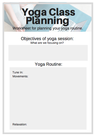 Yoga Class Planning Worksheet
