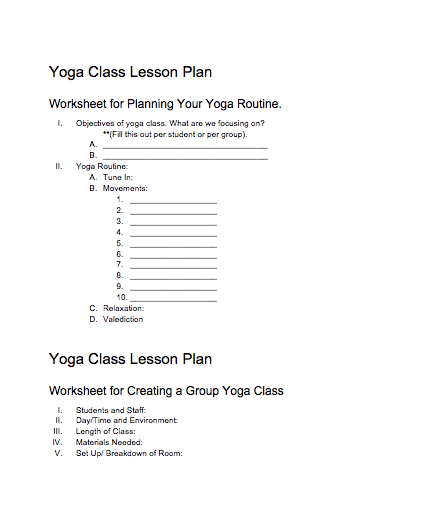 Yoga Class Planning ACCESSIBLE