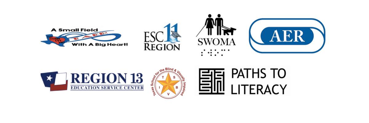 Media Logos: TAER, ESC Region 11, SWOMA, AER International, Region 13, Paths to Literacy