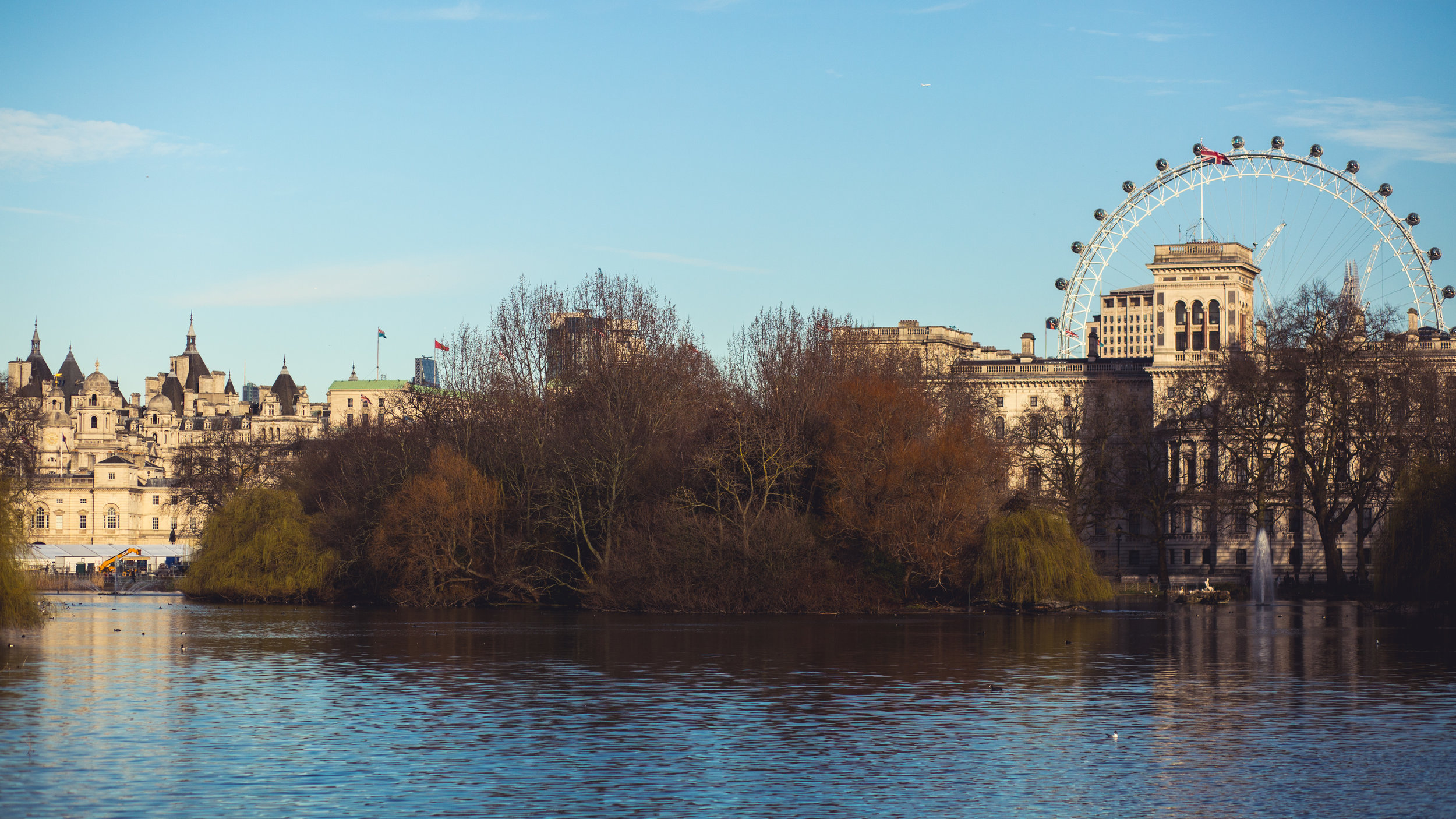 The view from St James' Park looking towards Waterloo and Southbank.