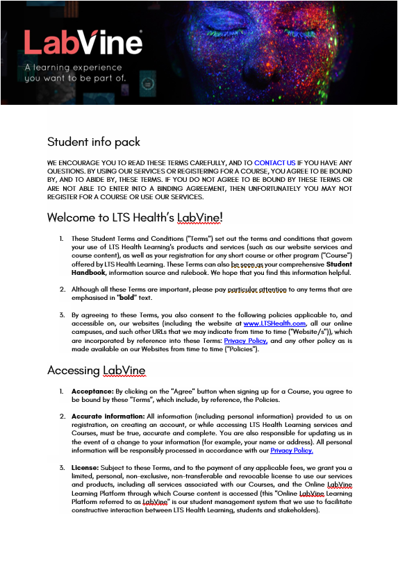 LabVine Student Info Pack