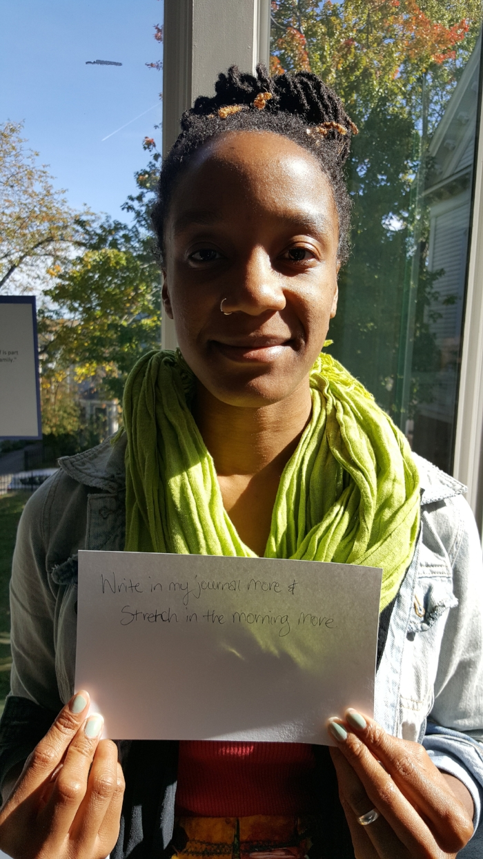 Makeda, a First Teacher participant, showing her self-care goals.