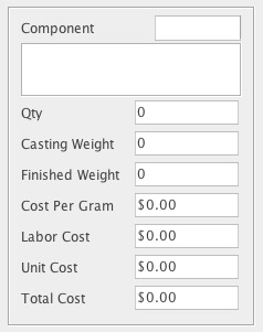 Example of screen attributes for a typical casting BoM component.