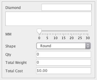 Example of BoM diamond management by shape and mm attributes which auto-calculate weight and cost.