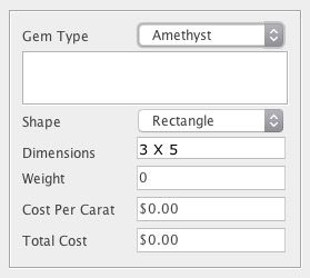 Example for handling of multiple gem type individual stones in a BoM.