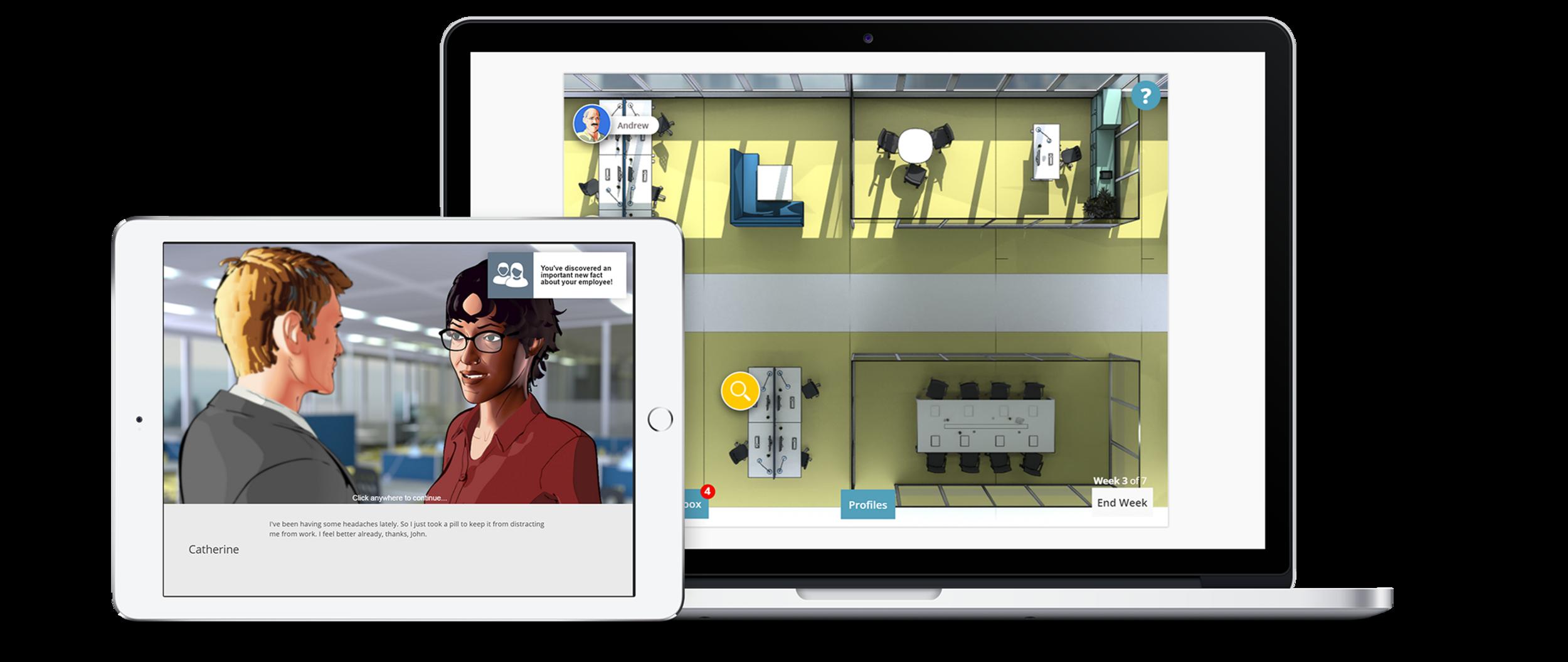virtuelle Szenarien basieren auf modernster Webtechnologie und sind Geräteunabhäng spielbar.