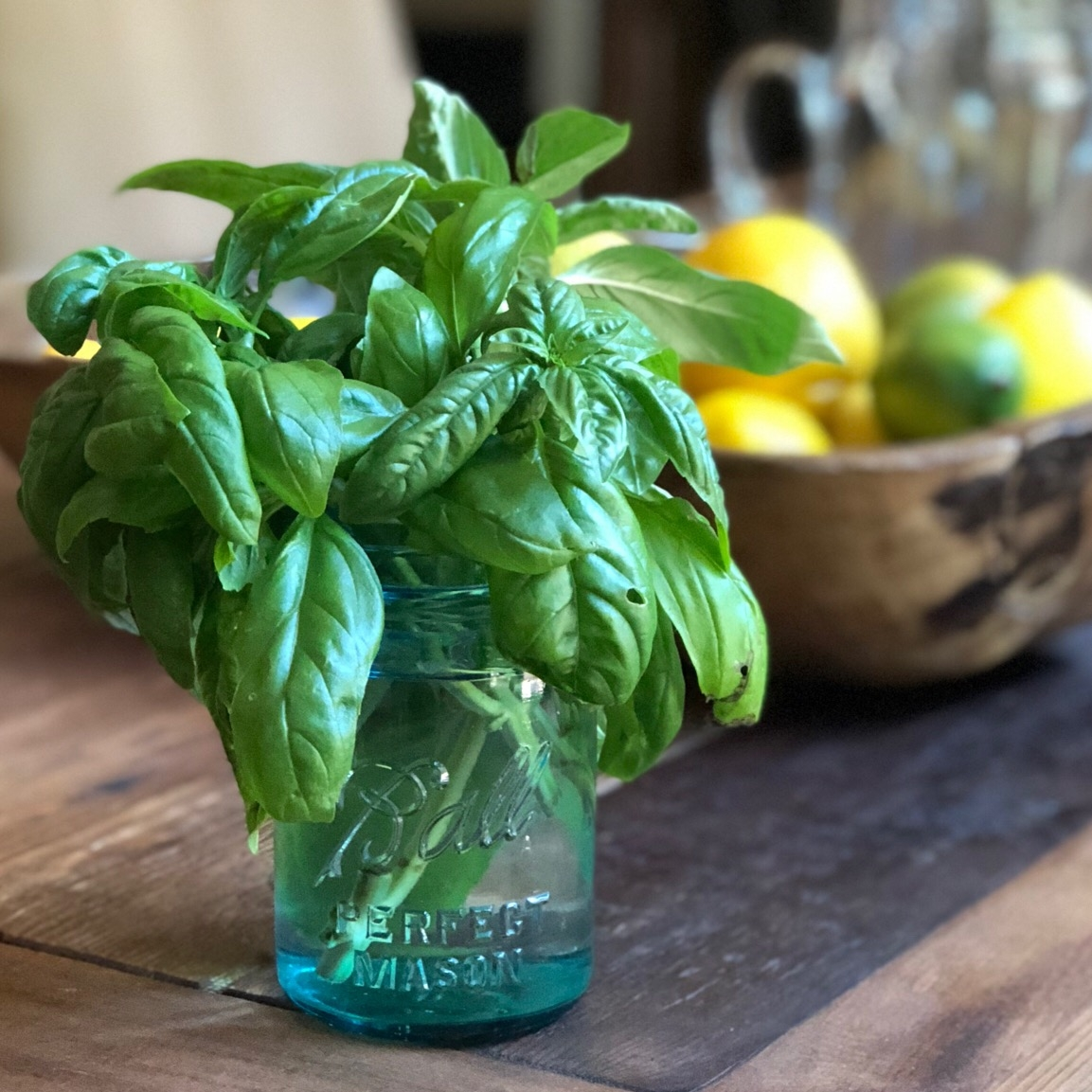 How to store basil? Just like flowers...In a jar or vase with water, out of direct sun light.