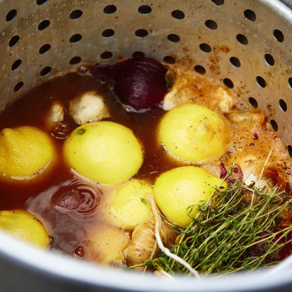 Shrimp Boil cooking away in turkey fryer