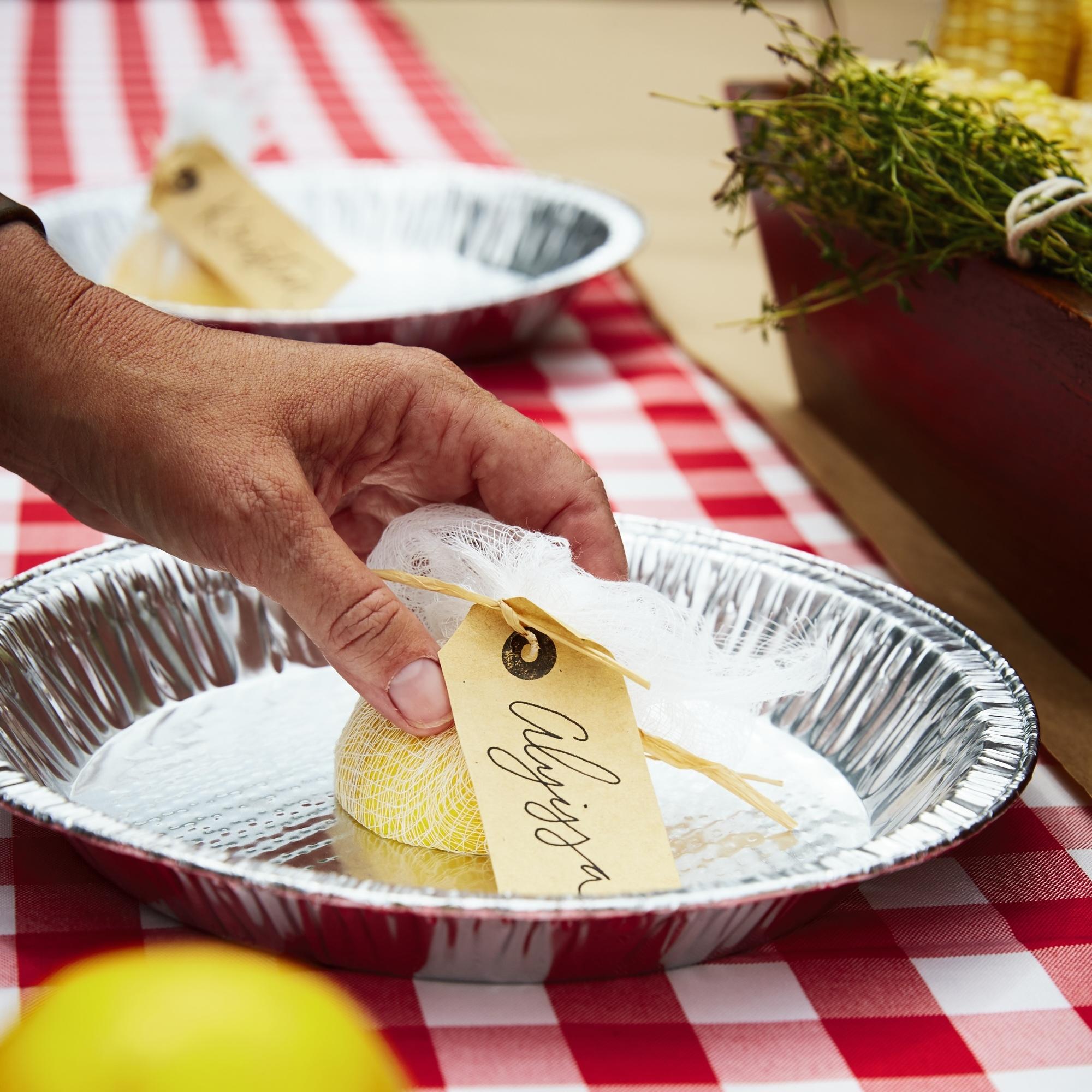 lemon place cards shrimp boil