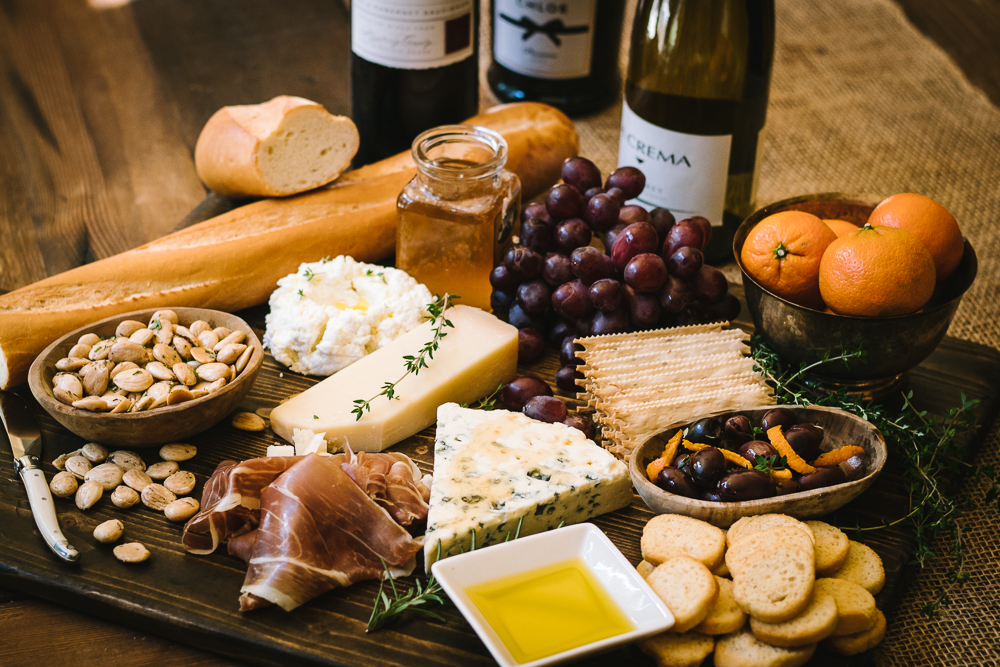 Wine and Cheese Party on wood Board