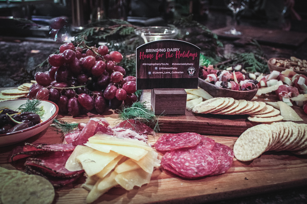 grazing board with meats, cheese, grapes, nuts and easy to put together.
