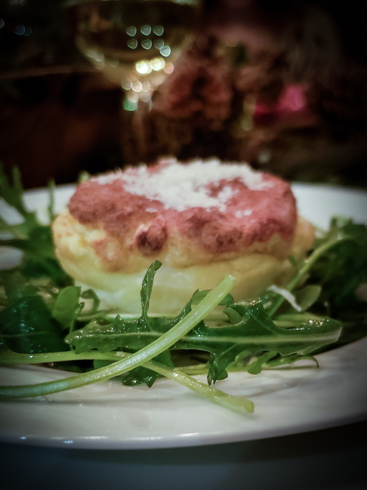 Blue cheese souffle in individual servings and make ahead.
