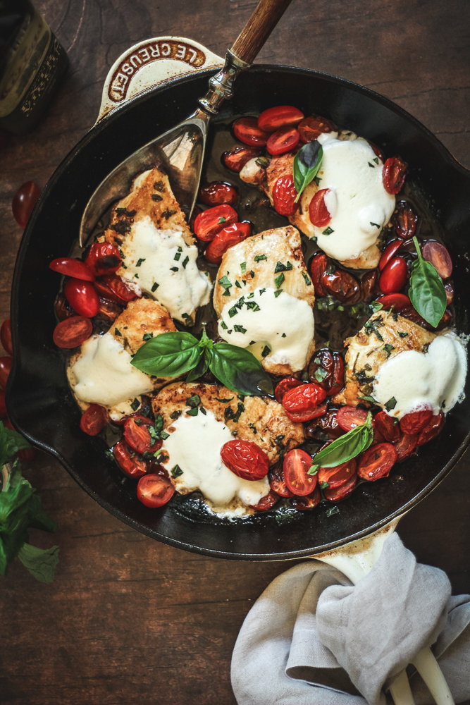 Caprese Chicken wood table