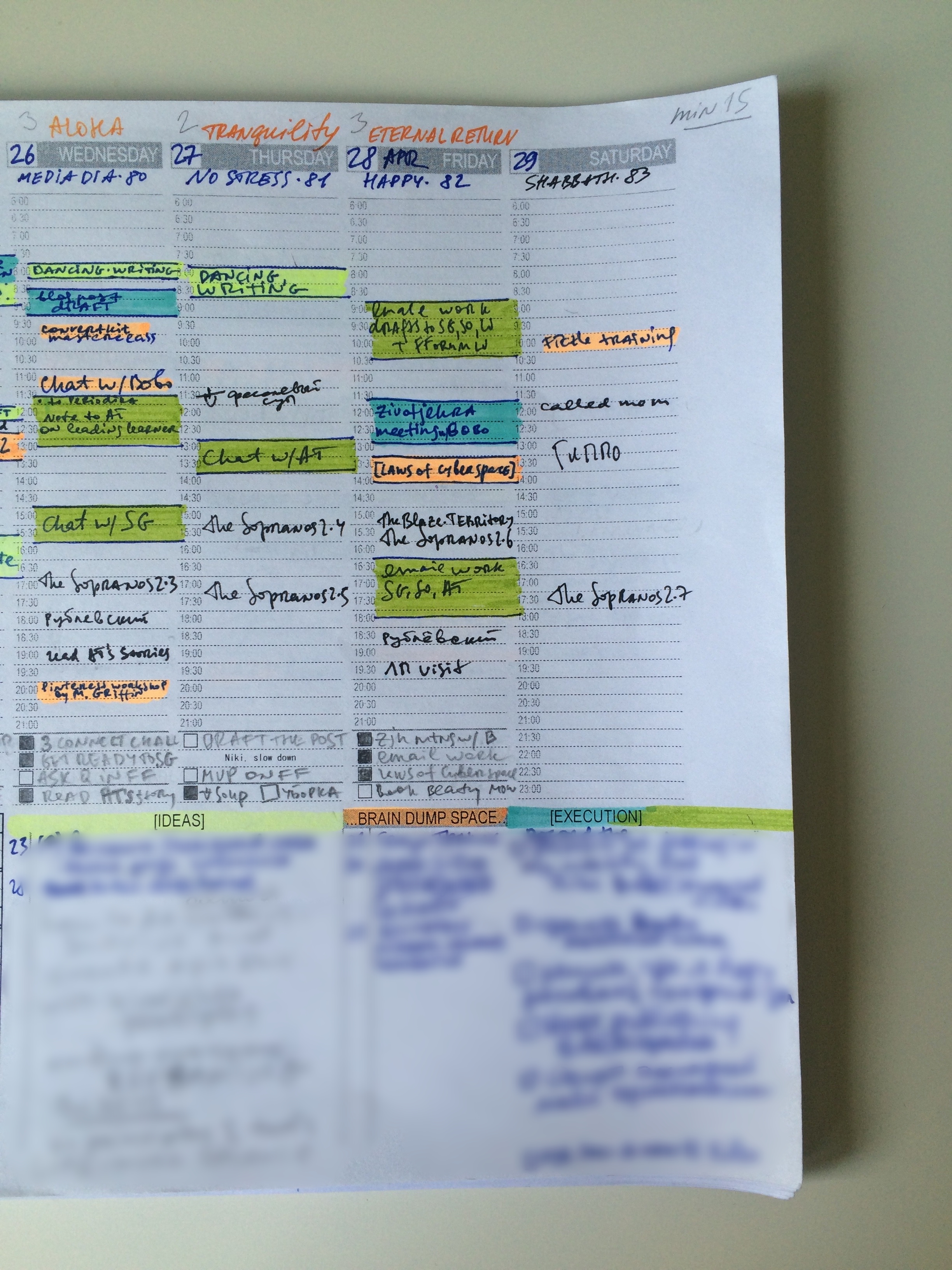 Weekly Logbook - I track work & life activities daily in the paper weekly logbook. More about this in the next article.