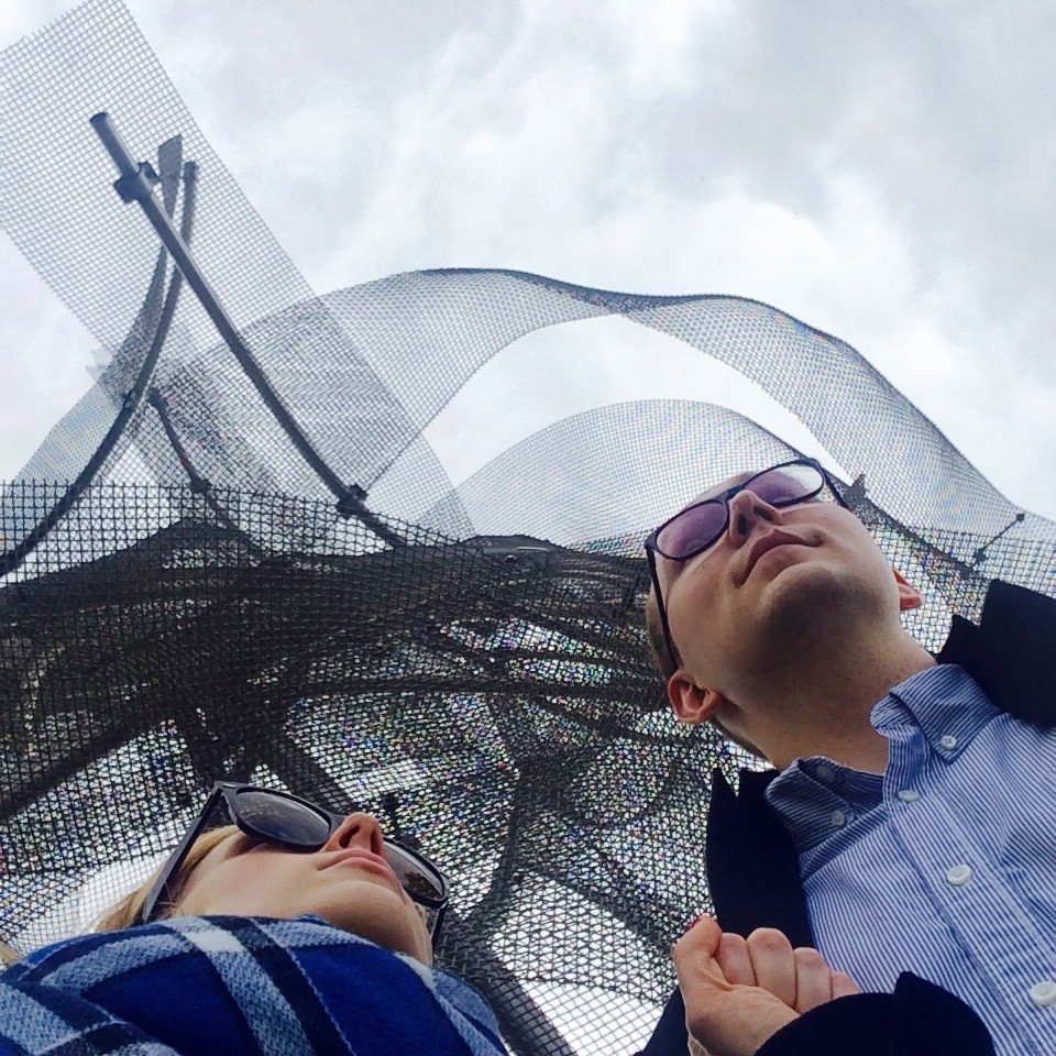 With Bobo, my incredible partner on the rooftop of the Dancing House in Prague