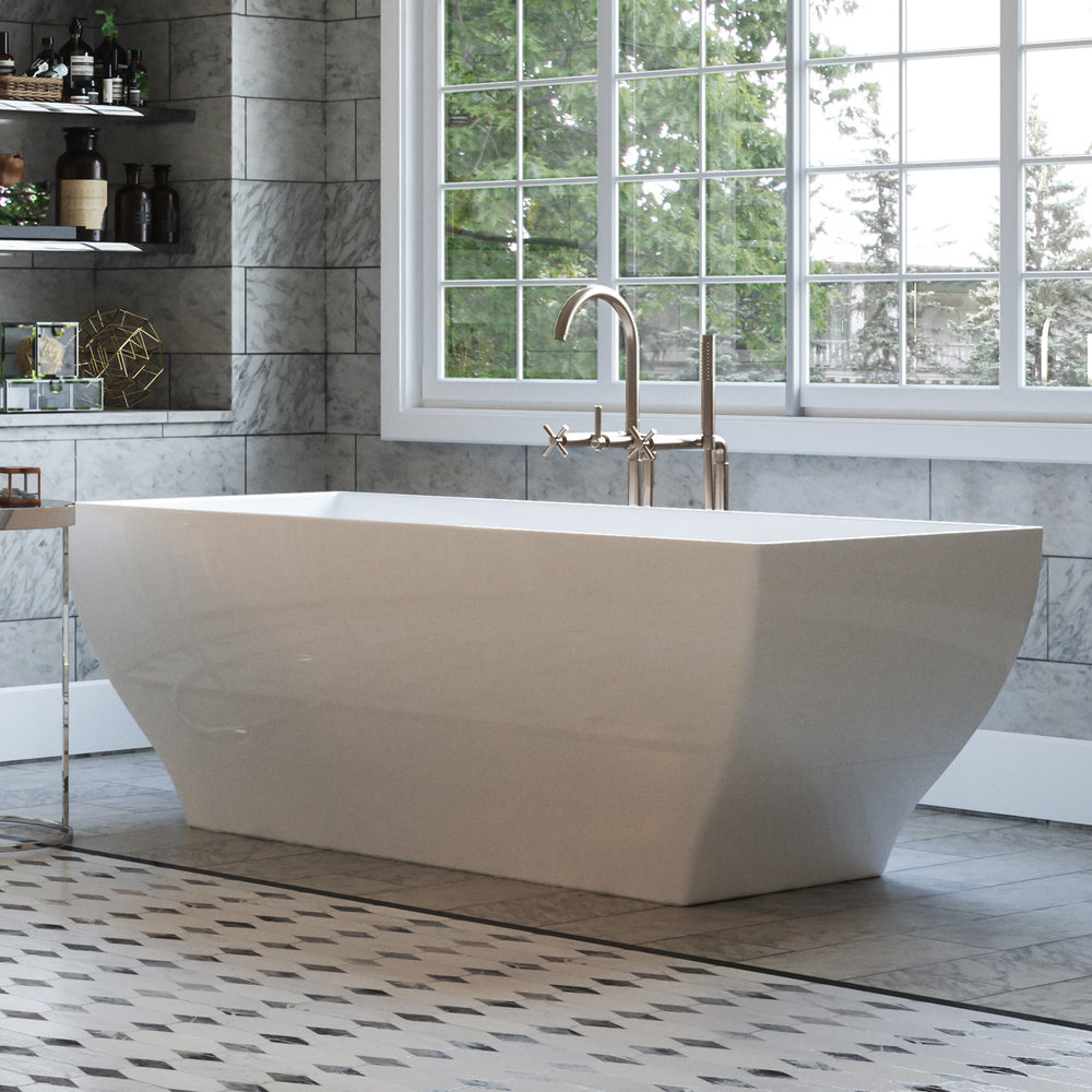 Manchester 63 Angled Rectangle Stand Alone Freestanding Tub In White Integrated White Drain Pelham And White