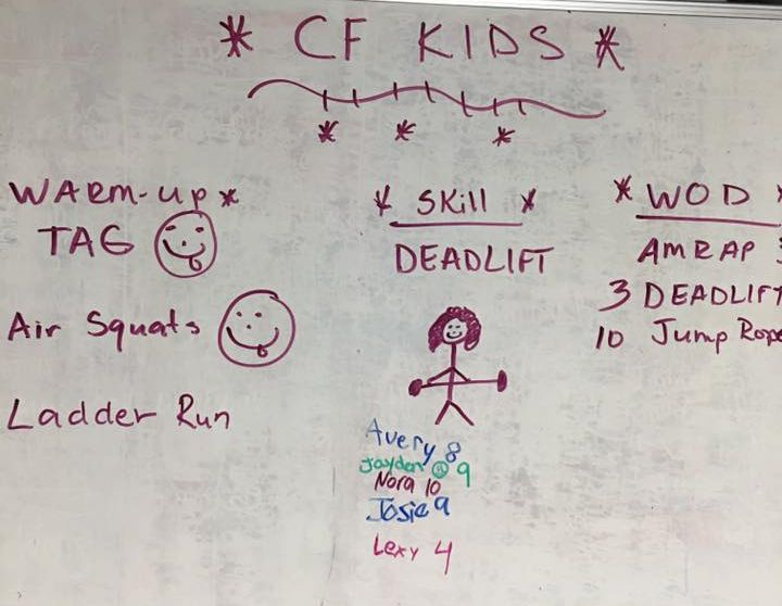 An example of one of the fun CrossFit Kids class workouts!