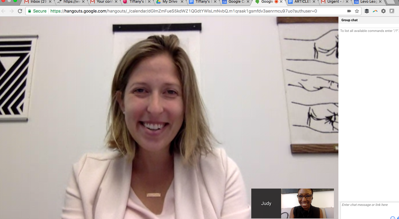 Judy and me on our last Google Hangout.