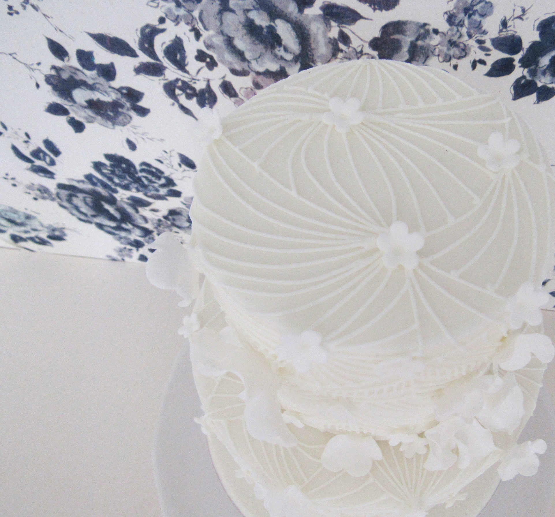 Geometric Lace White Wedding Cake - top view