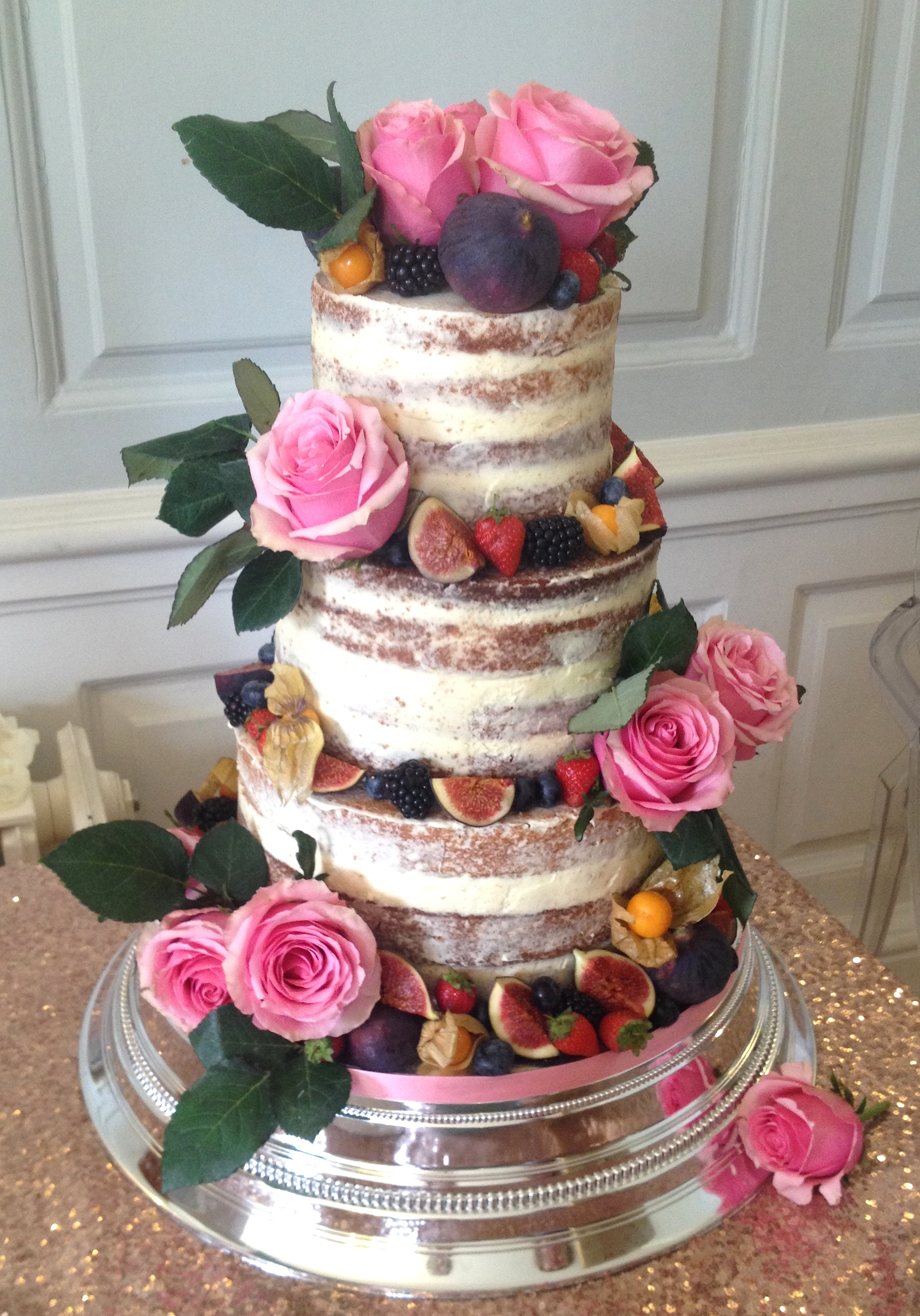 Naked Wedding Cake - pink rose
