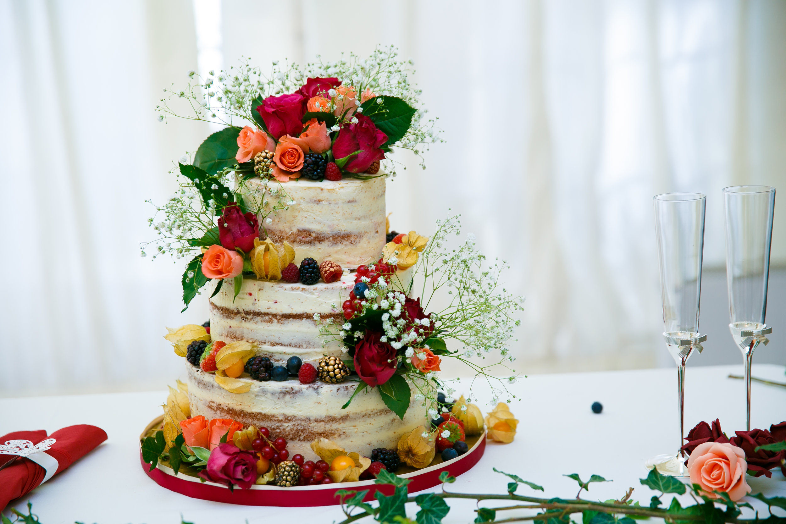 Maroon & Orange Naked Wedding Cake