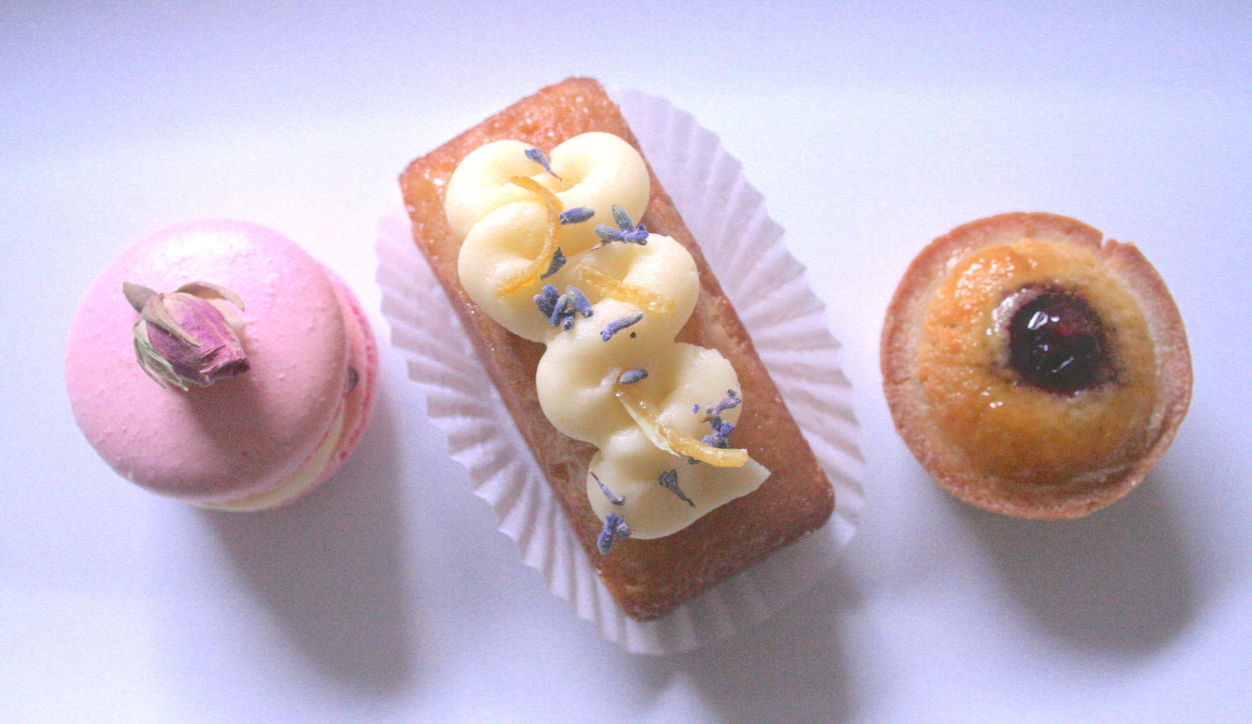 Afternoon Tea: Rose & Raspberry Macaron, Lemon & Lavender cake, Almond & Blueberry Tartlet