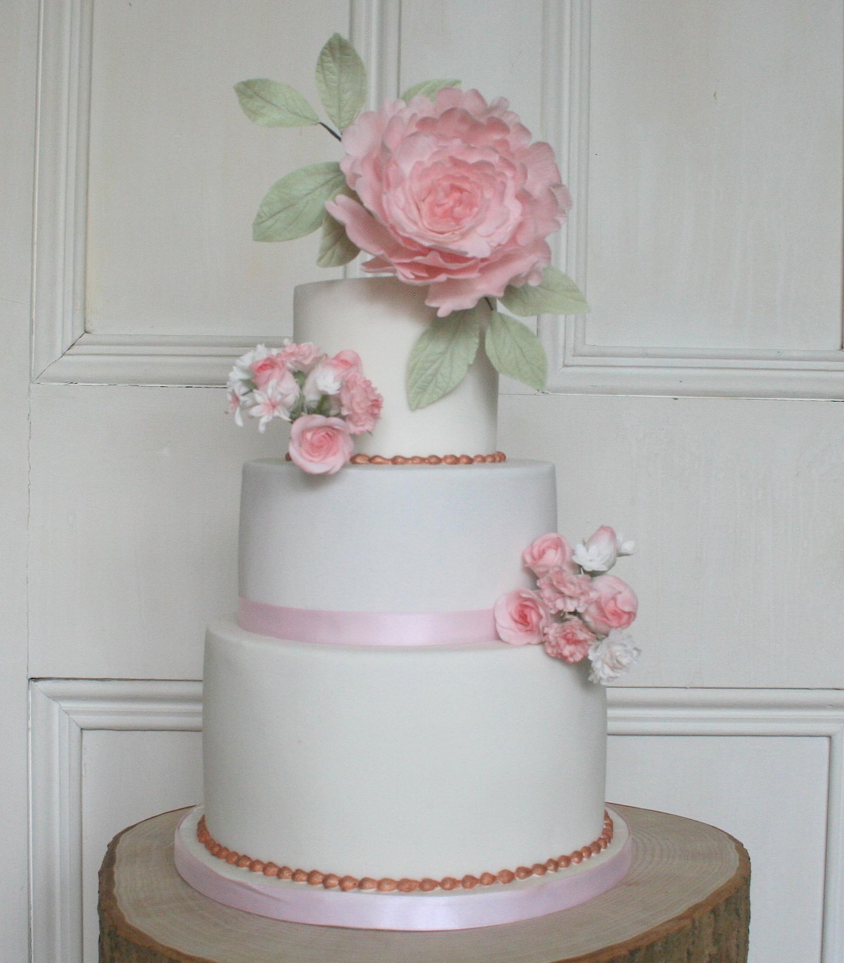 Romantic Pink Peony Wedding Cake