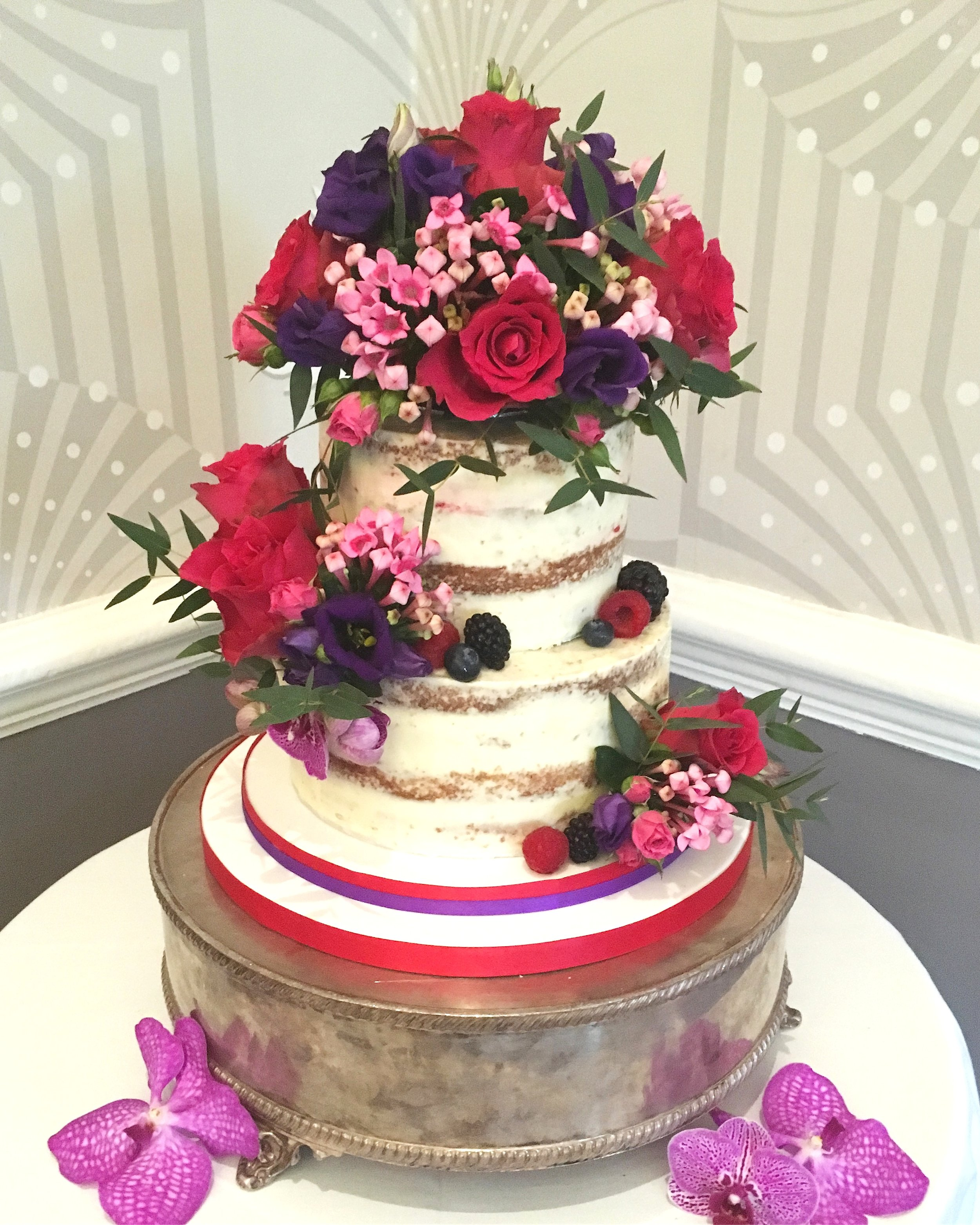 2 tier semi-naked wedding cake
