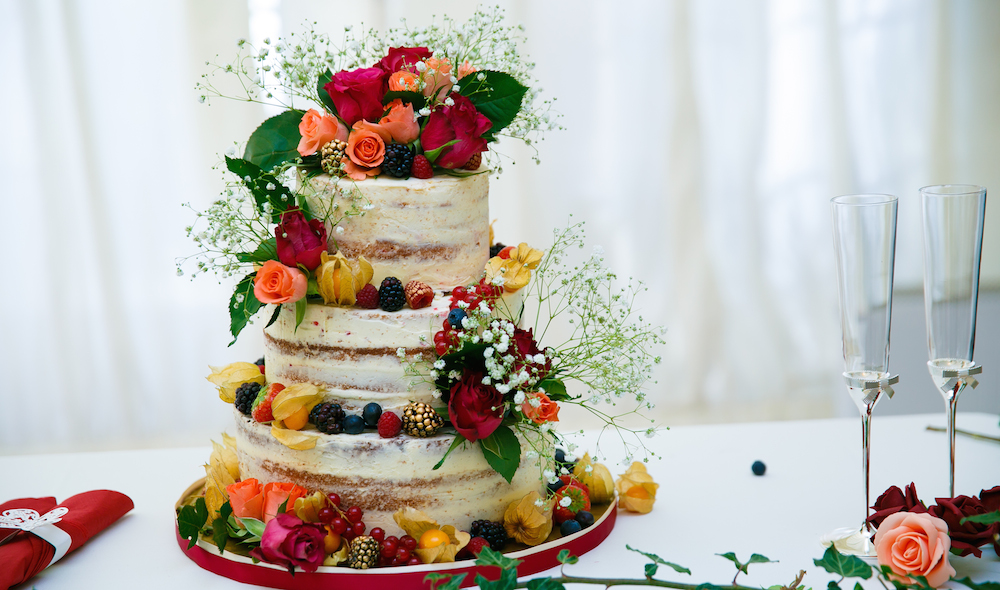 3 tier semi-naked wedding cake