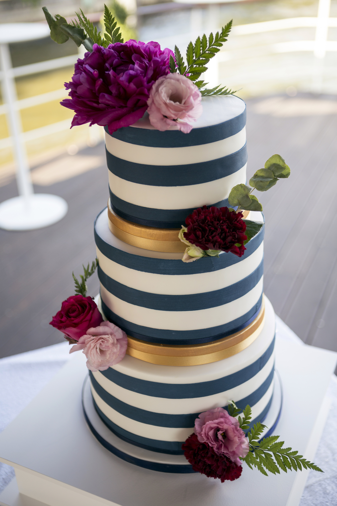 Navy stripe wedding cake