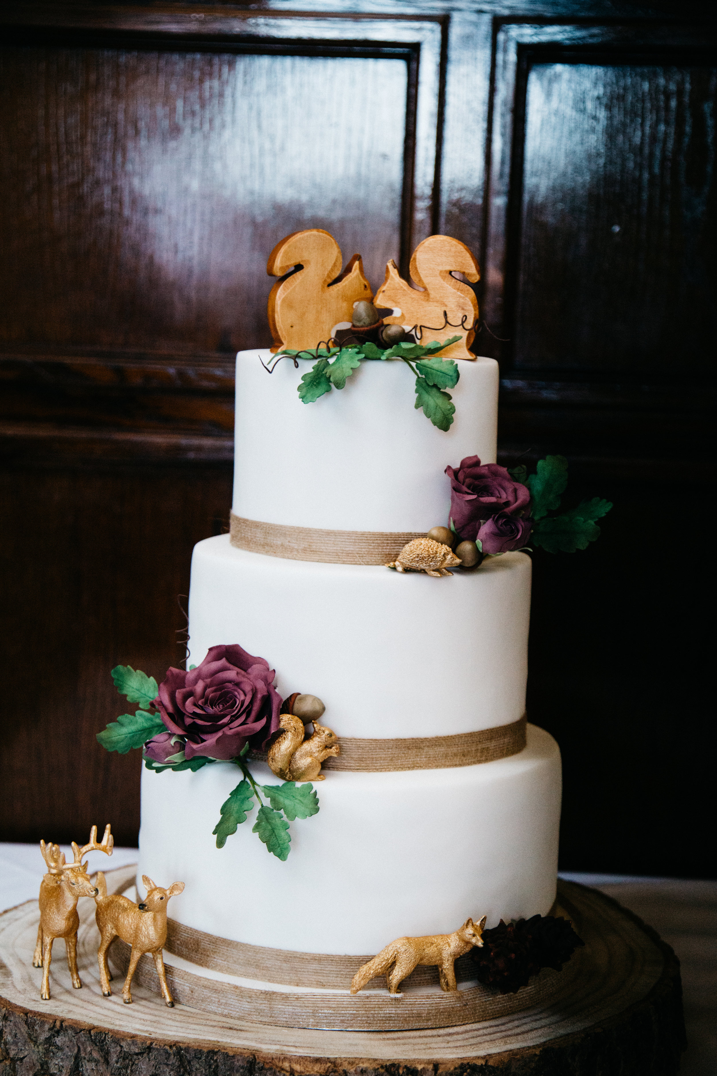 White Woodland Animal Wedding Cake