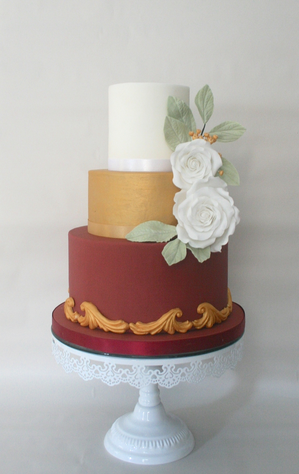 Winter Rose Wedding Cake