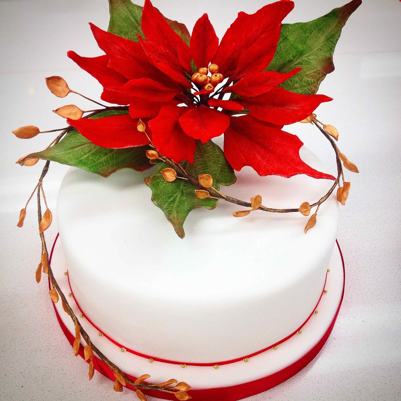 Ponsettia Christmas Cake