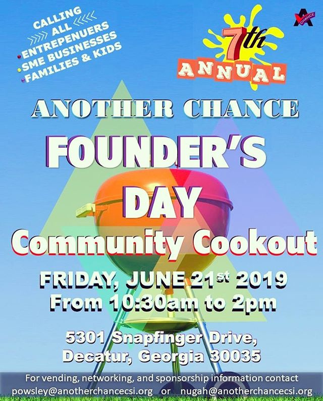 🗣 Calling all #disabilitysupport and #disabilitylove to our 7th Annual #FoundersDay Community Cookout on Friday, June 21st in #DecaturGa! Enjoy live DJ, complimentary food, games, inflatables and community info...all #FREE! Vendors contact thru website in bio‼️. . . . . #acrsi #anotherchance #disabilityawareness #dayprogram #atlanta #freeevent #vendorsatl #dsplife #cnalife #kidfriendly #familyfriendly #communitycookout #atlantabbq #bbq #caregiver