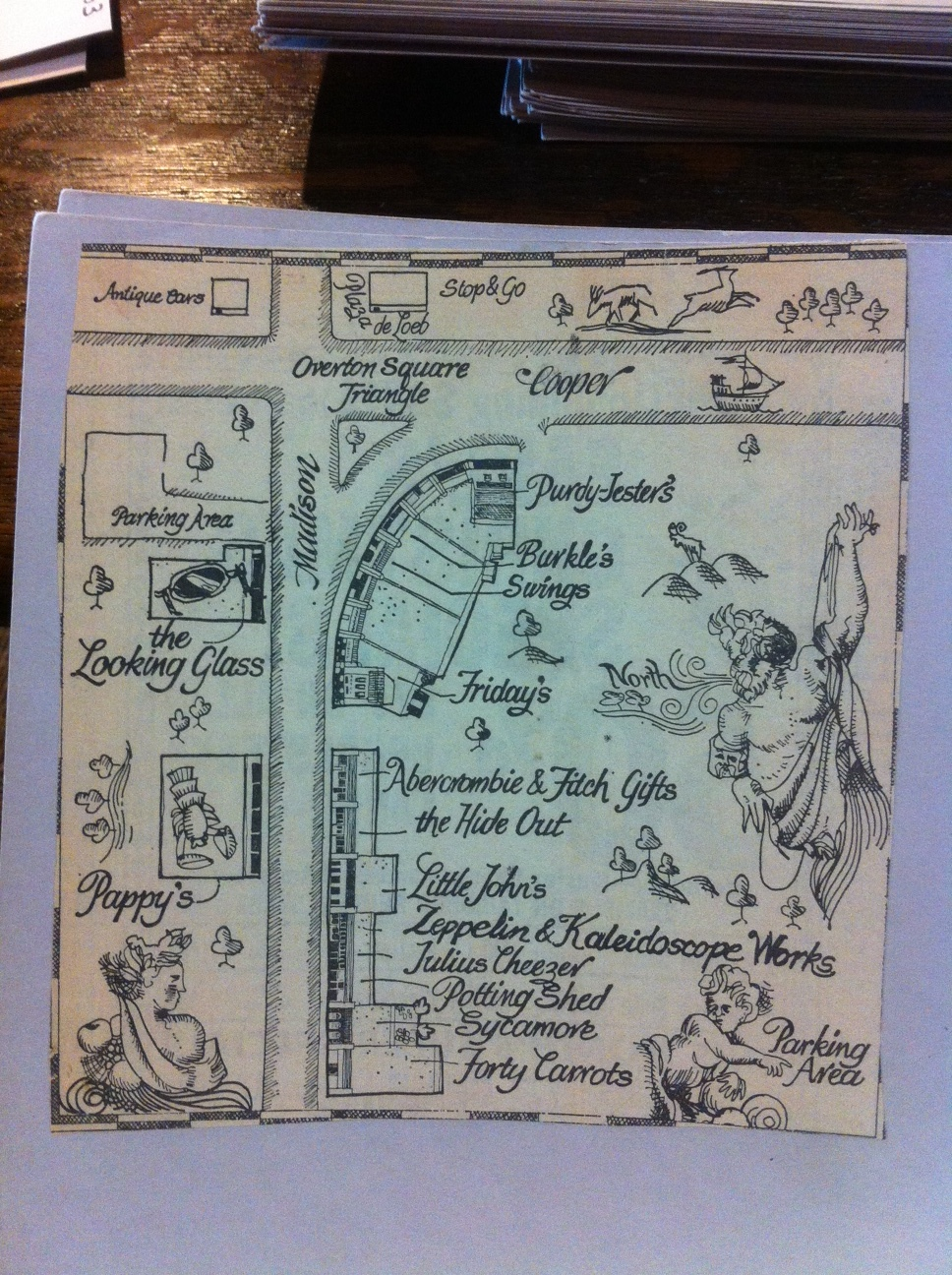 A hand-drawn map of the shops and restaurants of Overton Square in the 1970's