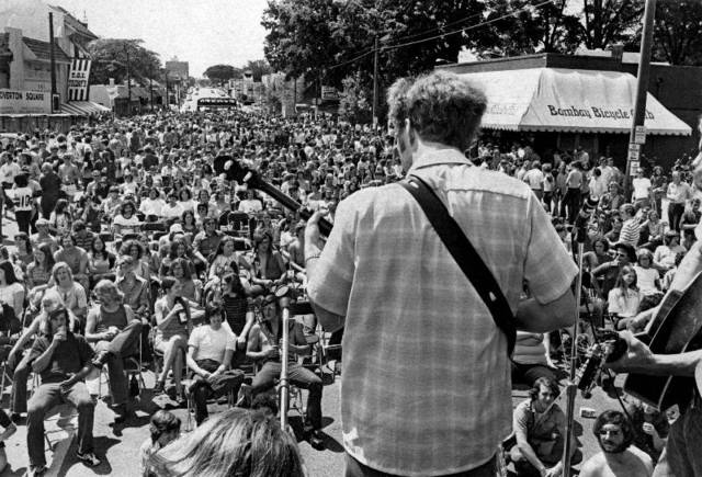 May 13, 1972 - Crawdad playing at Overton Square during a Cotton Carnival celebration as Memphis neared the end of a week of revelry, Saturday. Earlier in the day, there was a carnival parade downtown. Starting at 1 p.m., traffic was detoured from Overton Square as thousands of young people took to the street for Carnival day at the square. Music, beer and watermelon were the mainstays as the crowd enjoyed the music. Later that night, there was a Gospel Spectacular at the Mid-South Coliseum. Carnival wound up the next day.      Image and text via Dave Darnell/The Commercial Appeal