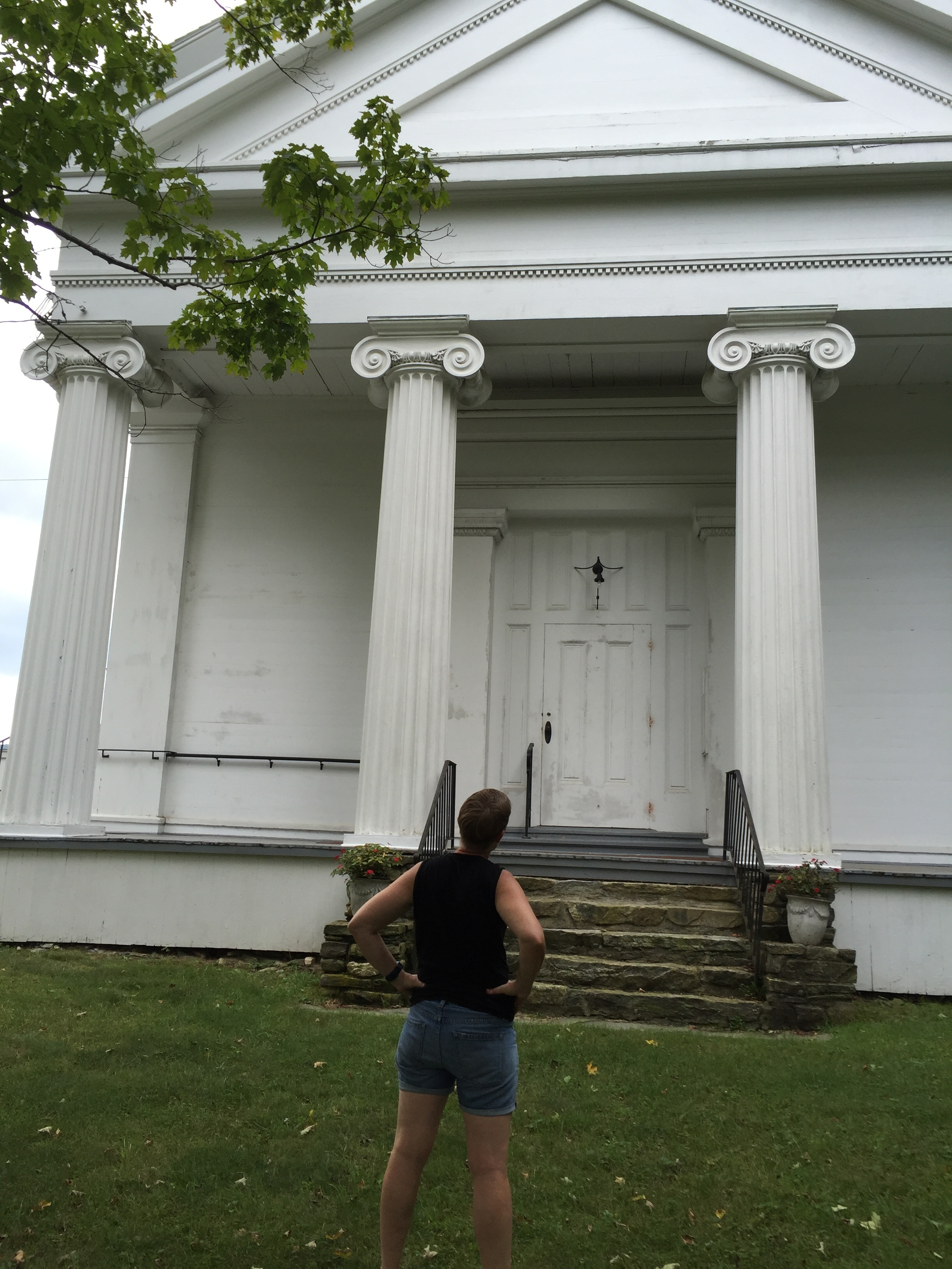 Here's Ann admiring the Tyringham Union Church, sure to be featured in the site-specific production of  Our Town.