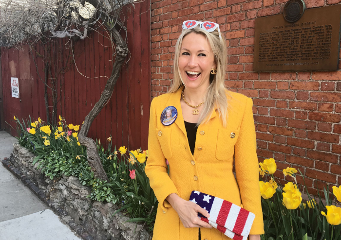 Shannon added a little POP to her Chelsea block as she headed to her polling station to vote for Hillary in New York City, April 19, 2016. Photo by  Kristen Blush .