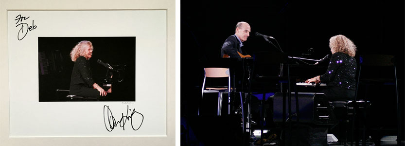 [Right] Best Mother's Day gift ever. Thank you, Carole! [Left] Photo by  Kristen Blush  of James Taylor performing with Carole King in Seattle, WA.