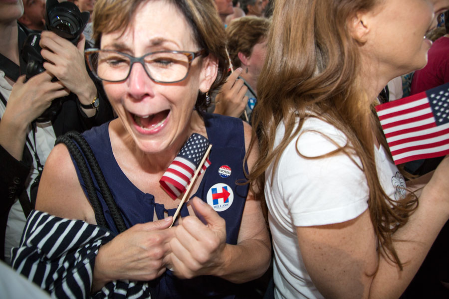 New Jerseyan, Deb Keelen, reacting when Hillary is announced winner of New Jersey. Deb is a NJ phone bank volunteer and voted for Hillary earlier this day.