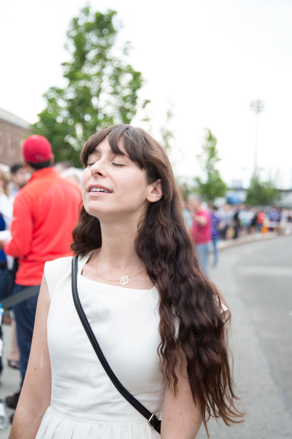 Elizabeth Lawrence takes it all in, as fans line up at the Brooklyn Navy Yard to witness Hillary Clinton become the first female nominee of a major political party. June 7, 2016. Photo by  Kristen Blush .