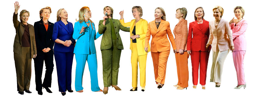 Celebrating LBGTQ with a rainbow of Hillary pantsuits + inspiration for your Hillary look.